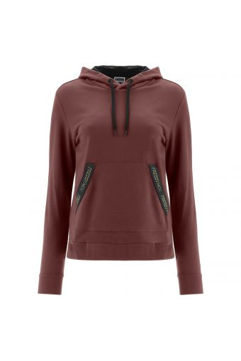 Sweatshirt with a mesh-lined hood and gold glitter details