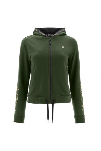 Hoodie with a print at the back and gold details