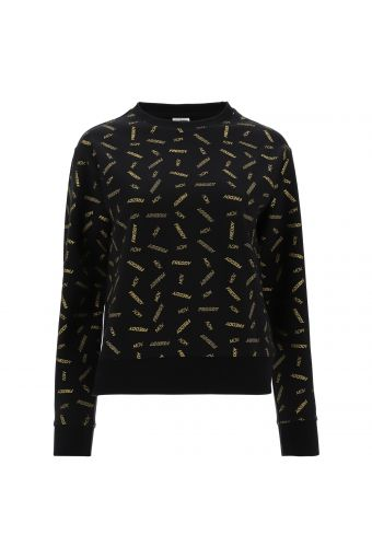 Black stretch sweatshirt with a gold all-over FREDDY MOV. print