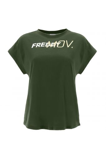 Comfort-fit t-shirt with ultrashort sleeves and a gold glitter print