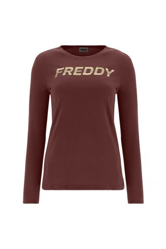 Long-sleeve modal t-shirt with a Freddy print in gold glitter