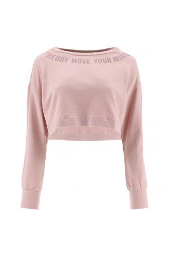 Übergroßes Crop-Top-Sweatshirt mit Bateau-Ausschnitt - 100 % Made in Italy