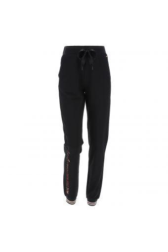 Pantalón deportivo con bajos a rayas y estampado brillante