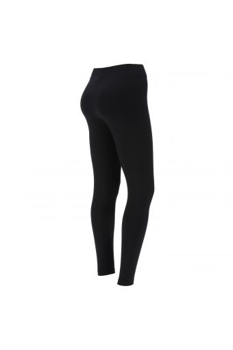 Black workout leggings with a shiny gold print on the lower leg