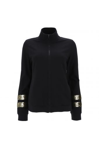 High-neck sweatshirt with double sequin bands on the sleeves
