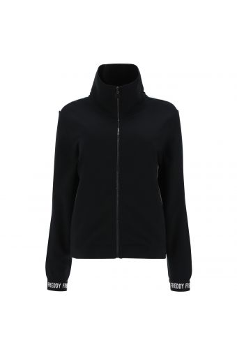 Sweatshirt with a contrast back and rhinestone trim
