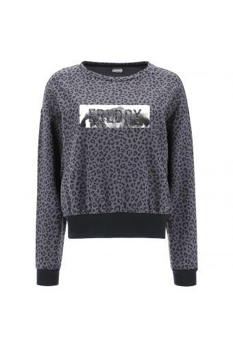 Sweatshirt mit Allover-Animal-Print und laminiertem Druck