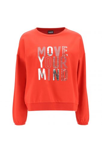 Comfort-fit sweatshirt with a silver Mylar print and rhinestones