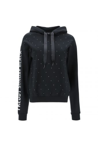 Sweatshirt mit Kapuze mit Mikronieten und bedruckten Ärmeln