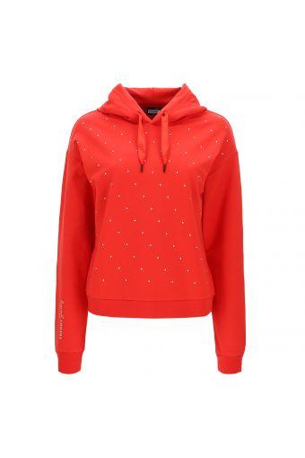 Micro stud hoodie with a print on one sleeve