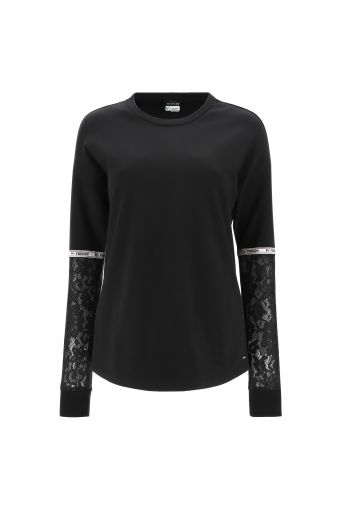 Comfort-fit sweatshirt with silver tape and lace tulle on the sleeves