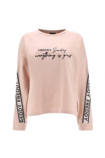 Cropped Oversize-Sweatshirt mit glänzendem Druck und Band an den Ärmeln