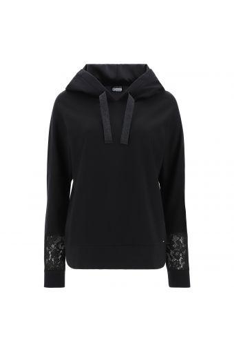 Sweatshirt mit Kapuze und Ärmeln mit Verzierungen aus Spitzen-Tüll