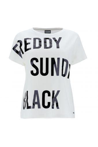 T-shirt comfort con grande stampa FREDDY SUNDAY BLACK