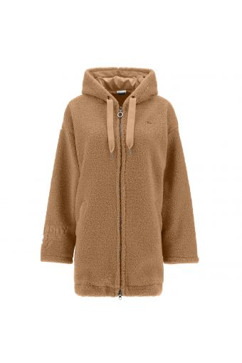 Comfort-fit hooded faux fur jacket with a zip