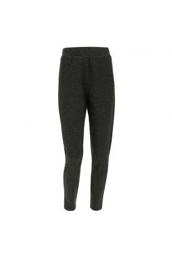 Pantalón deportivo en tejido interlock gris jaspeado