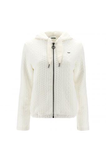 Sweatshirt mit Kapuze und geprägtem Zopfstrick-Effekt