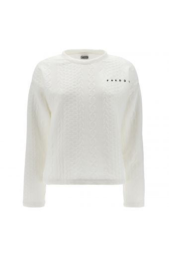 White sweatshirt with a raised cable-knit effect and a black logo