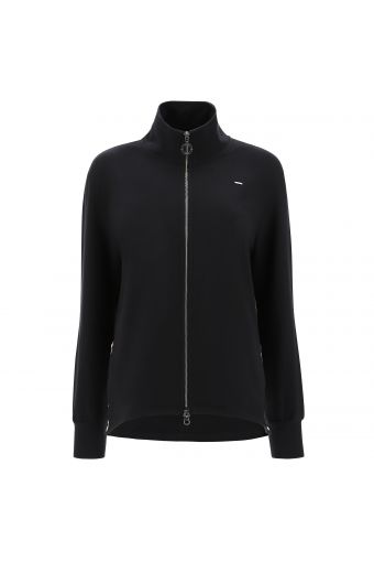 Comfort-fit sweatshirt with a zip and lateral slits with animal print trim