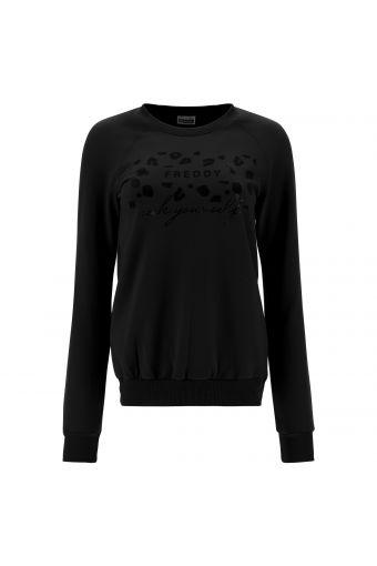 Boat neck sweatshirt with a FREDDY SEEK YOUR SELF print
