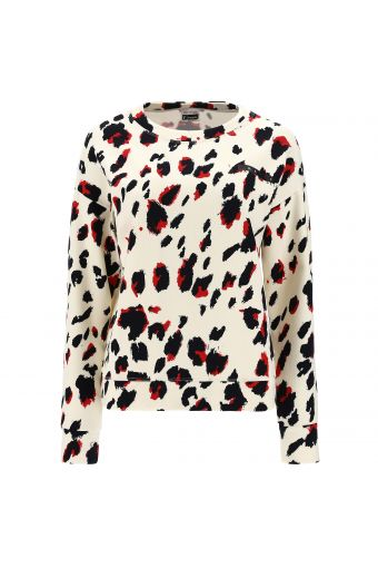 Crew neck sweatshirt with an all-over animal print