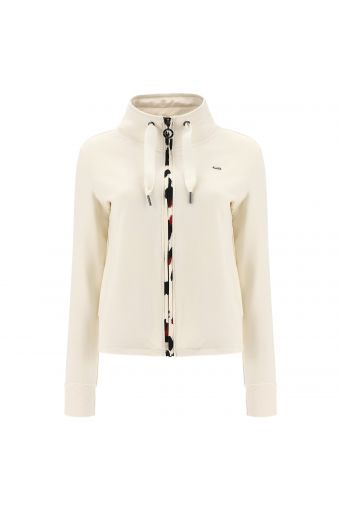 High neck sweatshirt with a maxi drawstring and animal print trim