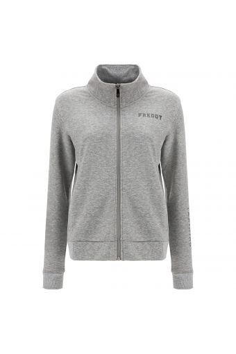 Melange grey zip-front sweatshirt with ribbed silver lurex trim