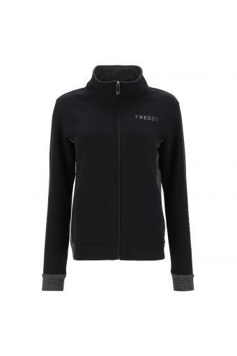 Zip-front sweatshirt with ribbed silver lurex details
