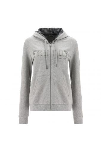 Melange grey hoodie with glen plaid lining and rhinestone lettering