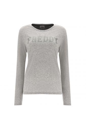 Melange grey sweatshirt with a glen plaid insert and glitter