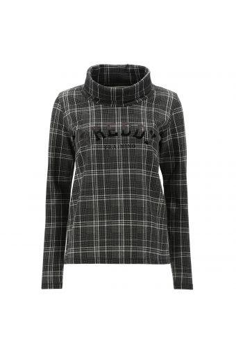Glen plaid sweatshirt with a roomy polo neck