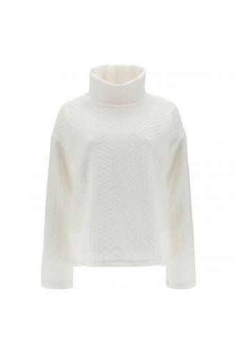 Cropped high neck knit-effect sweatshirt