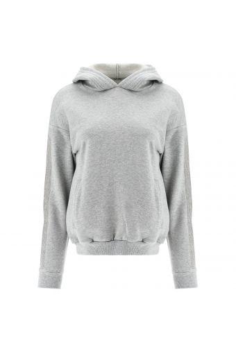Melange grey hoodie with micro rhinestone bands