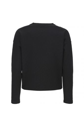 Black cropped comfort-fit shirt in crocodile-effect jacquard