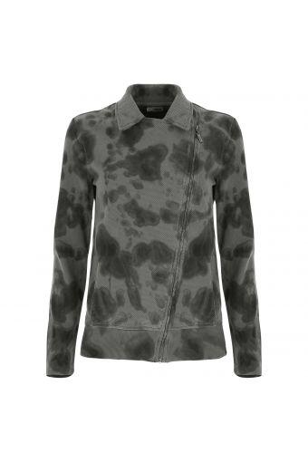 Handgefärbte Bikerjacke aus Sweatshirtstoff mit Reißverschluss mit Camouflage-Effekt