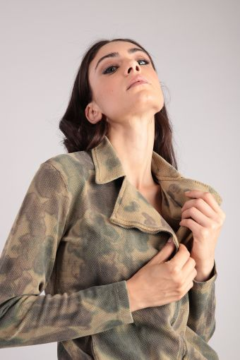 Hand-dyed sweatshirt in leather-jacket style with camouflage-effect and zip