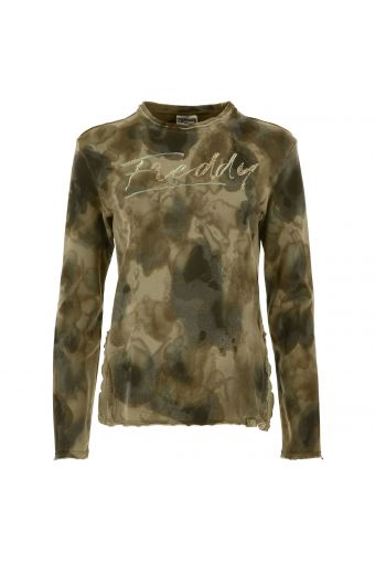 Camouflage sweatshirt with embroidery and sequins