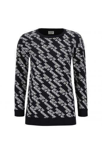 Comfortable long sweatshirt with a contrast all-over print