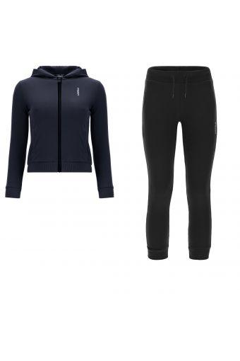 Regulärer Trainingsanzug aus Sweatshirtstoff mit Kapuze und Aufdruck