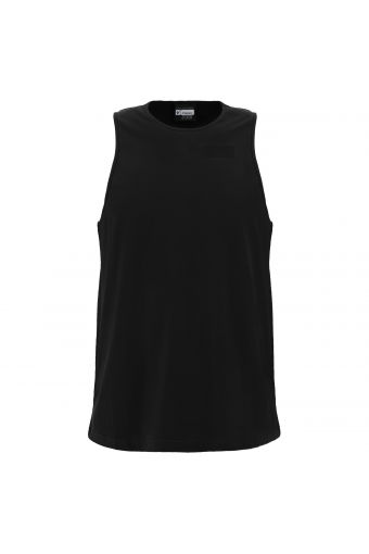 Crew neck cotton tank top with wide straps