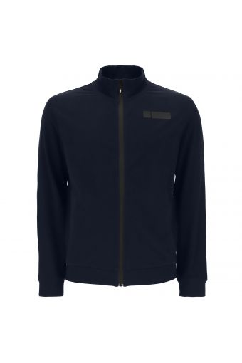 Jersey sweatshirt with ribbed trim and a zip fastening