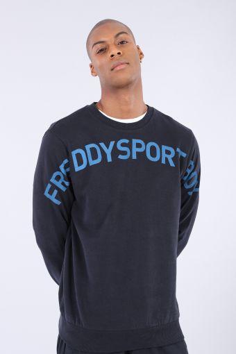 Brushed fleece sweatshirt with a shoulder-to-shoulder print