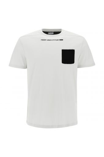 Velvety, peachskin-effect cotton t-shirt with an insert