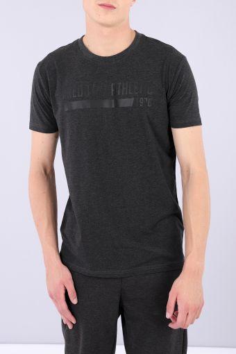 Camiseta regular de tejido de punto jaspeado oscura con estampado tono sobre tono