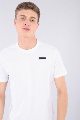 Weißes T-Shirt aus 100% Baumwolljersey und No-Logo als Kontrast