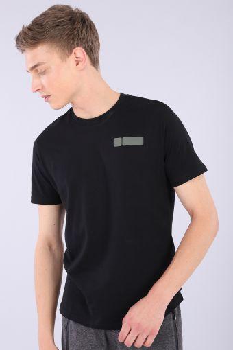Schwarzes T-Shirt aus 100% Baumwolljersey und Military No-Logo