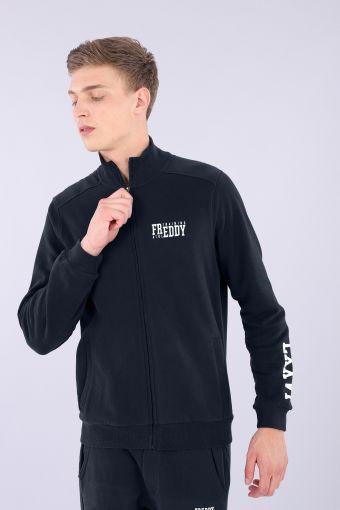 """Baumwoll-Sweatshirt mit """"Pfirsichhauteffekt"""", hohem Kragen und Aufschrift"""