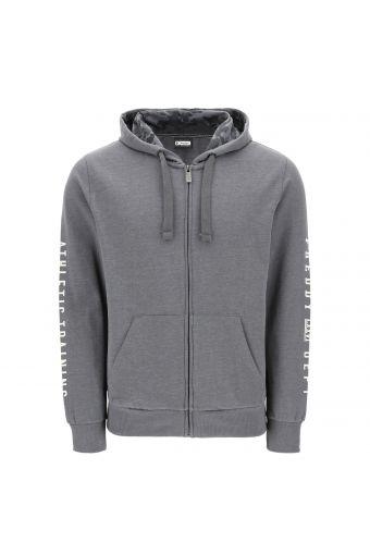 Melange peachskin-effect hoodie with lettering