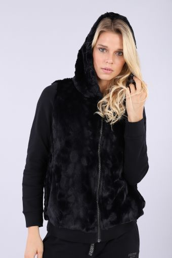 Faux-fur jacket with animal print lining