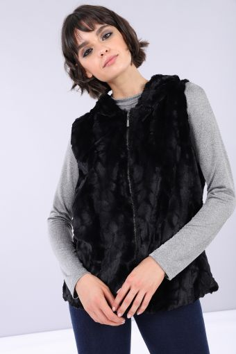 Faux-fur vest with hood and animal print lining